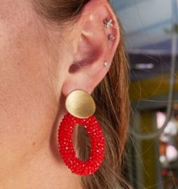 Red crystal statement oorbellen