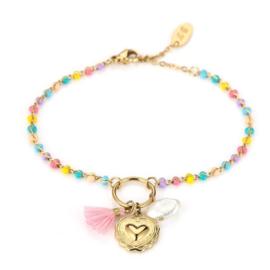 Armband heart and beads yellow