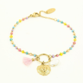 Armband heart and beads yellow