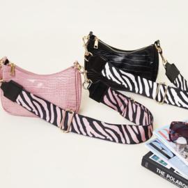 Tas strap zebra zwart/pink