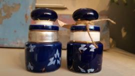 Porselein potjes kobalt blauw