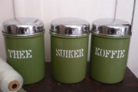 Emaille voorraadbussen koffie thee suiker VERKOCHT