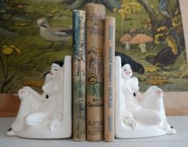 Vintage boekensteunen Pierrot