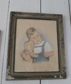 Portret jongetje met beer VERKOCHT