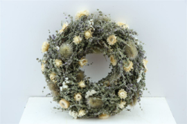 Droogbloemen krans White Jewel