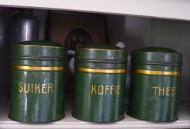 Oude blikken koffie thee & suiker
