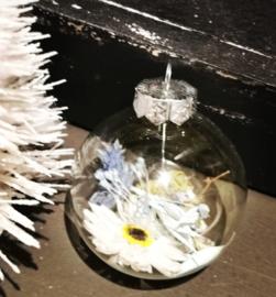 Droogbloemen kerstballen blauw