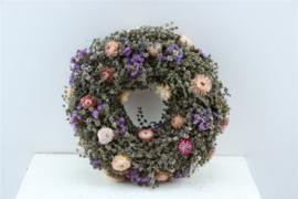Droogbloemen krans Pink Jewel