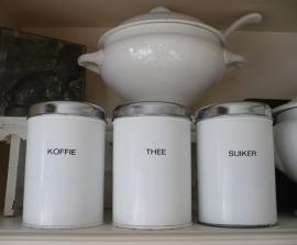 Brocante koffie thee suiker bussen