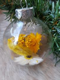 Droogbloemen kerstballen geel