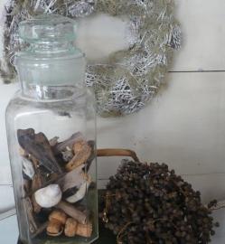 Oude glazen snoeppot VERKOCHT