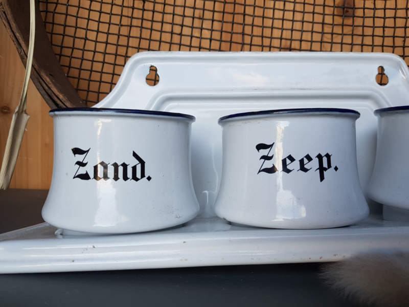 Emaille zand zeep soda set
