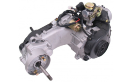 MOTOR COMPLEET GY6 10 INCH WIEL MET LANGE ACHT AS ( INC CARB )