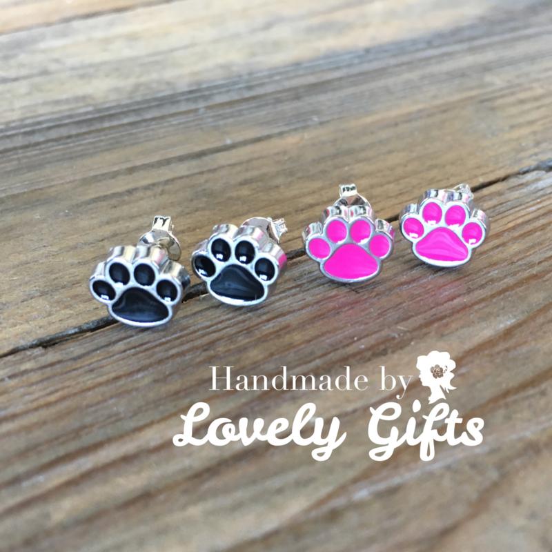 Dog Lover - Oorbellen Paw Pink Black