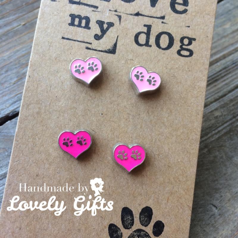 Dog Lover - Oorbellen Heart Soft Pink and Pink