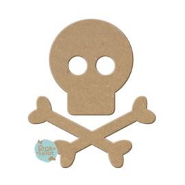 MDF figuur: Skull and Bones (M021)