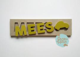 Naampuzzel 0-5 letters. Bijv. 'Mees'