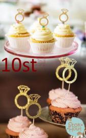 Cupcake decoratie 'Glitter ringen Goud' - 10st (ST188)