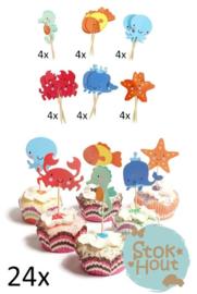 Cupcake decoratie 'Zee thema' - 24st (ST172)