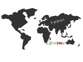 Krijtbord Wereldkaart - 250x145cm (KR002)