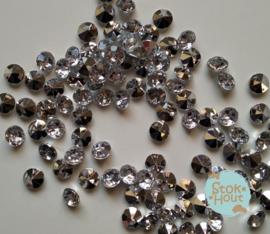 Diamanten - Transparant met zilver - 8mm - +/- 100st (ST093)