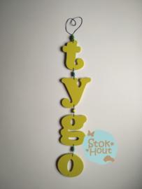 Naamslinger 1-5 letters + 2 figuren. Bijv. 'tygo'