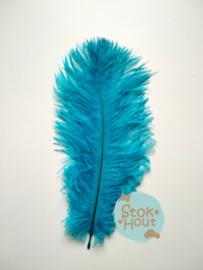 Struisvogelveer (3st) - Aqua blauw - 15 tot 20cm