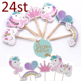 Cupcake decoratie 'Unicorn' - 24st (ST184)