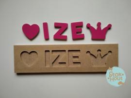Naampuzzel 0-5 letters. Bijv. 'Ize'