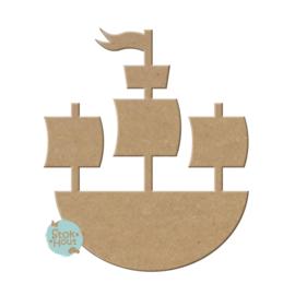 MDF figuur: Piraten schip (M019)