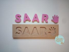 Naampuzzel 0-5 letters. Bijv. 'Saar'