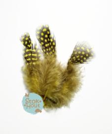 Parelhoen veren (10st) - Retro geel - 5 tot 10cm