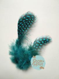 Parelhoen veren (10st) - Licht Blauw - 5 tot 10cm