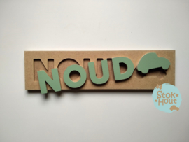 Naampuzzel 0-5 letters. Bijv. 'Noud'
