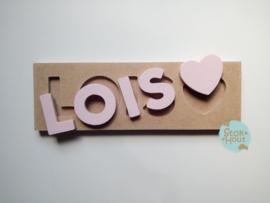 Naampuzzel 0-5 letters. Bijv. 'Lois'