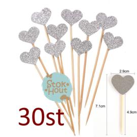 Cupcake decoratie 'Glitter hart Zilver' - 30st (ST187)
