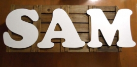 Muurletters 50cm `SAM` kleur: Wit