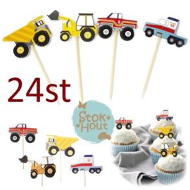 Cupcake decoratie 'Auto's' - 24st (ST183)