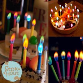 Verjaardagskaarsjes met gekleurde vlammetjes - 12st (ST173)