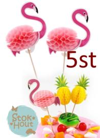 Cupcake decoratie 'Flamingo' - 5st (ST181)