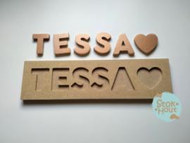 Naampuzzel 0-5 letters. Bijv. 'Tessa'