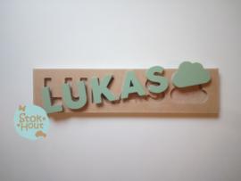 Naampuzzel 0-5 letters. Bijv. 'Lukas'