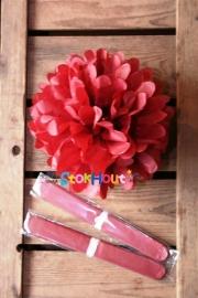 10x Pompoms - 25cm - Bordeaux Rood (ST105)