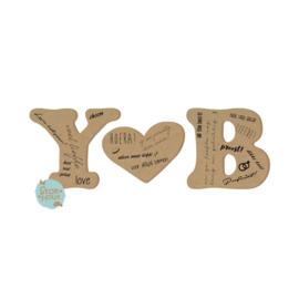 Gastenboek letters - Blanco MDF (bijv. Y♥B) (ST081)