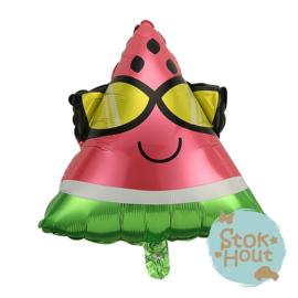 Folieballon Watermeloen met zonnebril - 55cm (ST166)