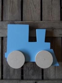 Locomotief op wielen (bijv. zacht blauw)