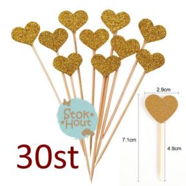 Cupcake decoratie 'Glitter hart Goud' - 30st (ST186)