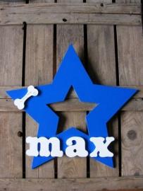 Naambord STER donker blauw met wit als Gedenkbord