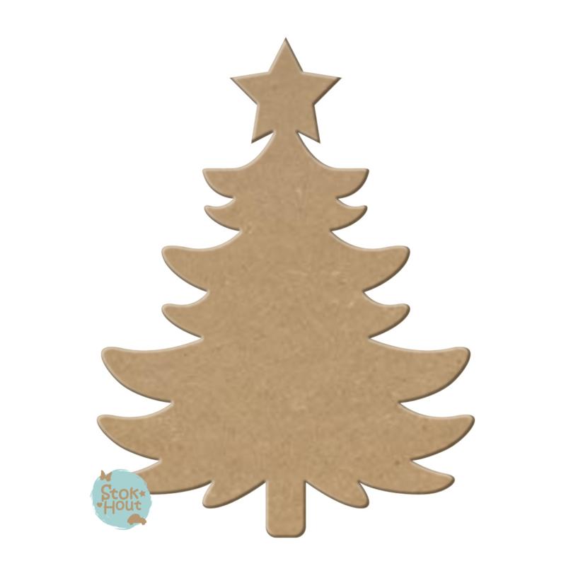 MDF Figuur `Kerstboom #2` 30cmx6mm   Koopjeshoek