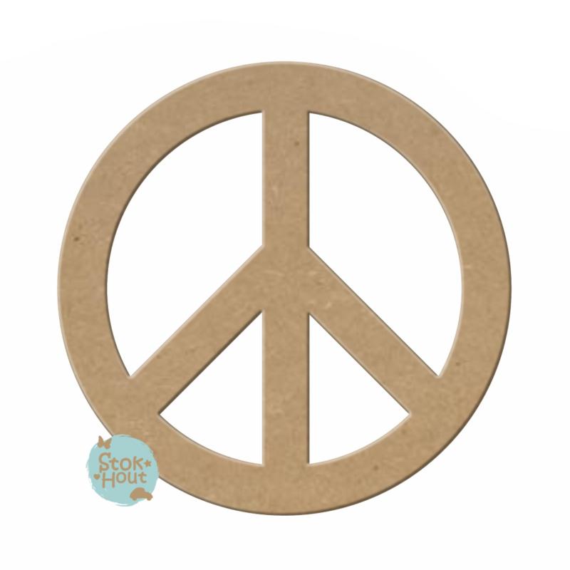 MDF Figuur `Peace teken` 10cmx6mm | Koopjeshoek